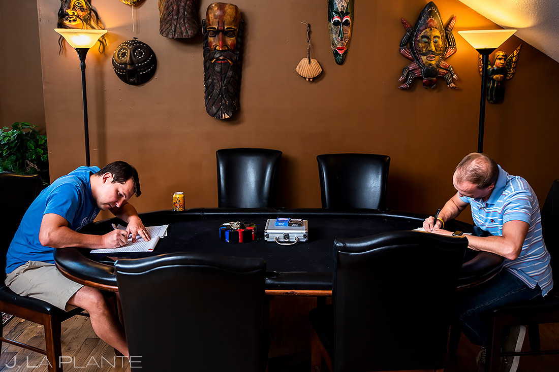 Groom Writing Letter | Lionsgate Wedding | Boulder Wedding Photographer | J. La Plante Photo
