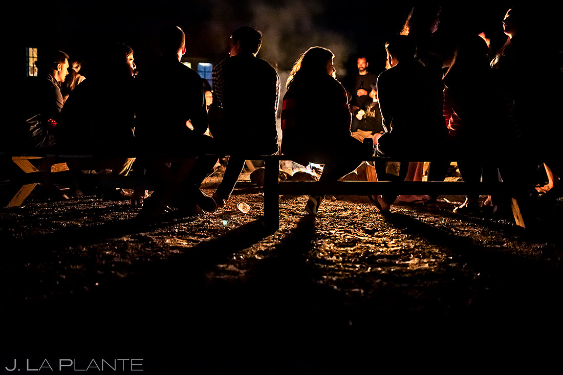 Wedding Guests at Campfire | New York Destination Wedding | Destination Wedding Photographers | J. La Plante Photo
