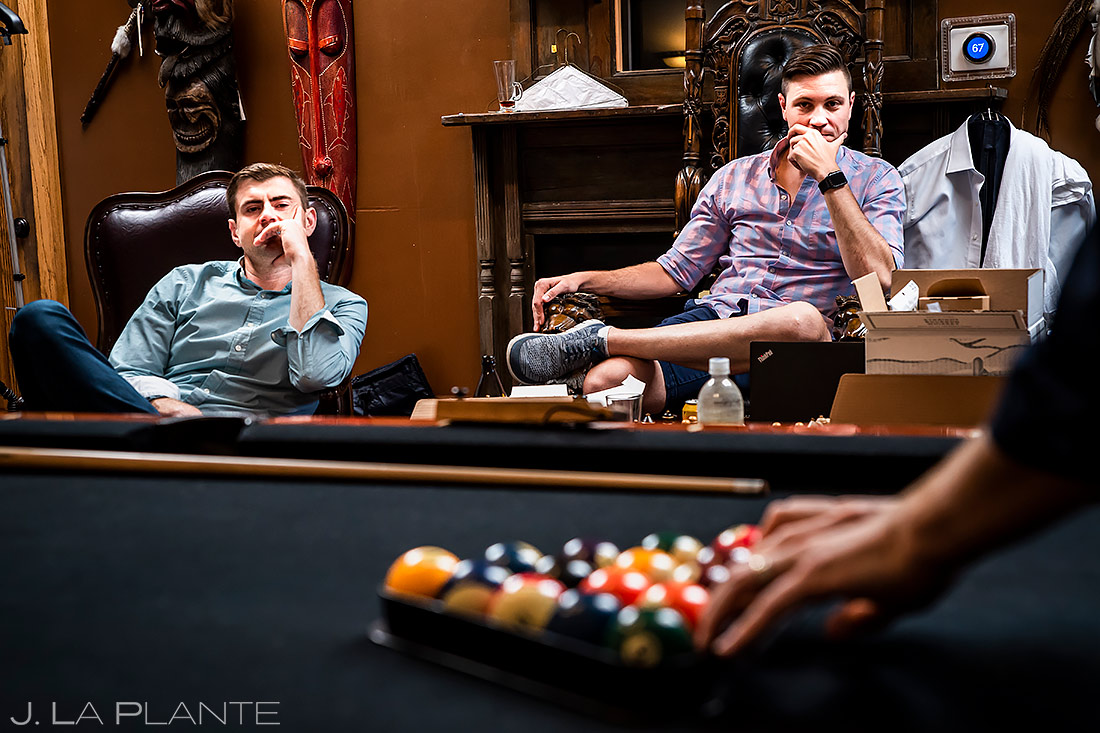 Groomsmen Playing Pool | Lionsgate Wedding | Boulder Wedding Photographer | J. La Plante Photo