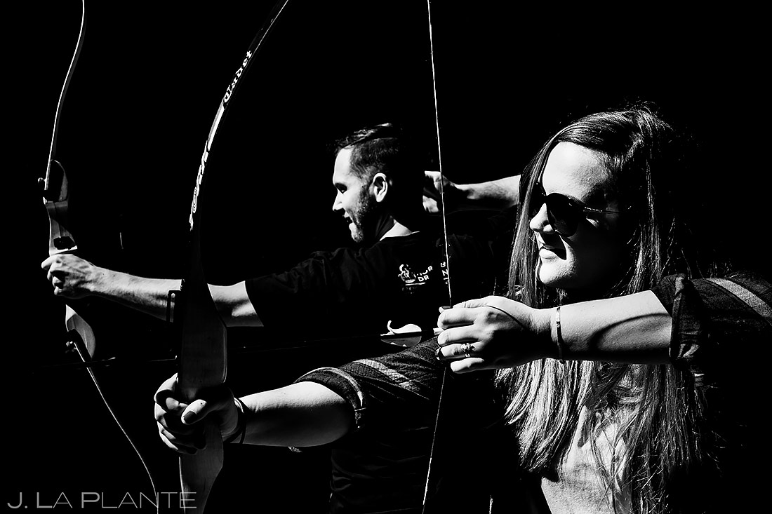 Bride and Groom Archery | New York Destination Wedding | Destination Wedding Photographers | J. La Plante Photo