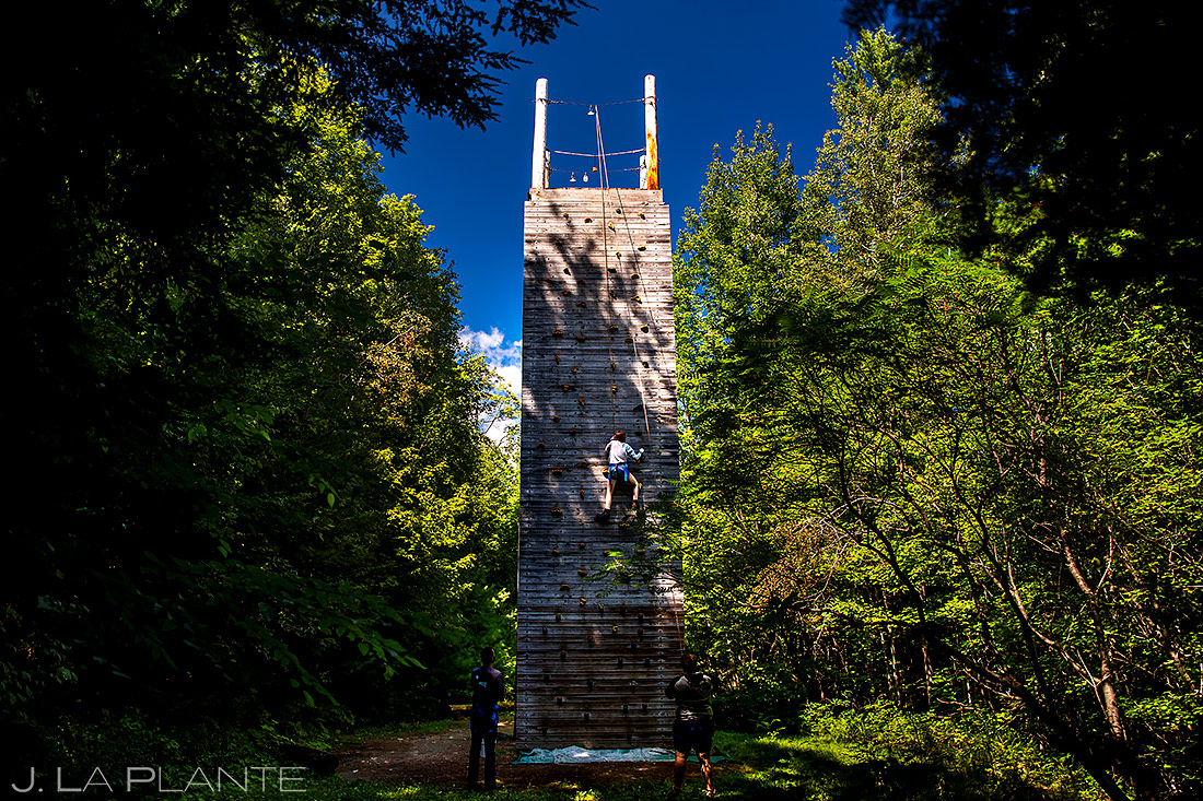 Wedding Guests on Climbing Wall | New York Destination Wedding | Destination Wedding Photographers | J. La Plante Photo