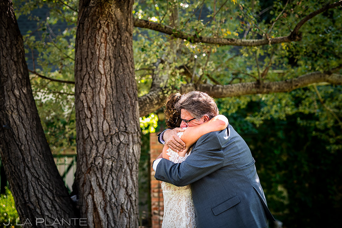 Bride First Look with Dad | Lionsgate Wedding | Boulder Wedding Photographer | J. La Plante Photo