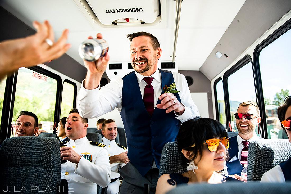 Wedding Party Bus | Aspen Meadows Resort Wedding | Aspen Wedding Photographer | J. La Plante Photo