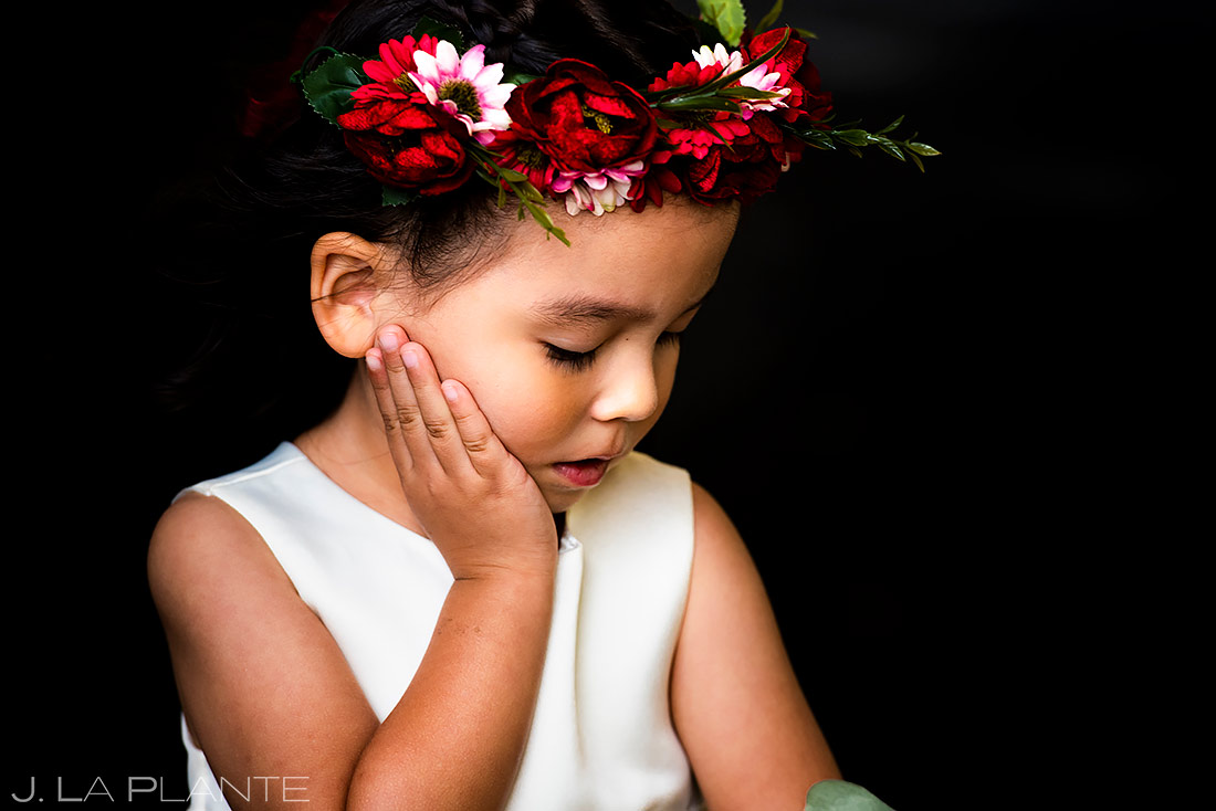cute flower girl at wedding ceremony