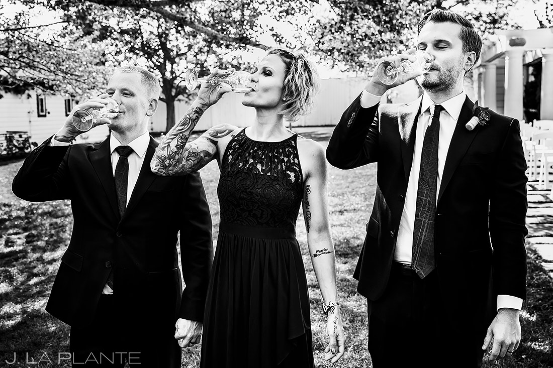 Wedding Party Drinking Champagne | Lionsgate Wedding | Boulder Wedding Photographer | J. La Plante Photo