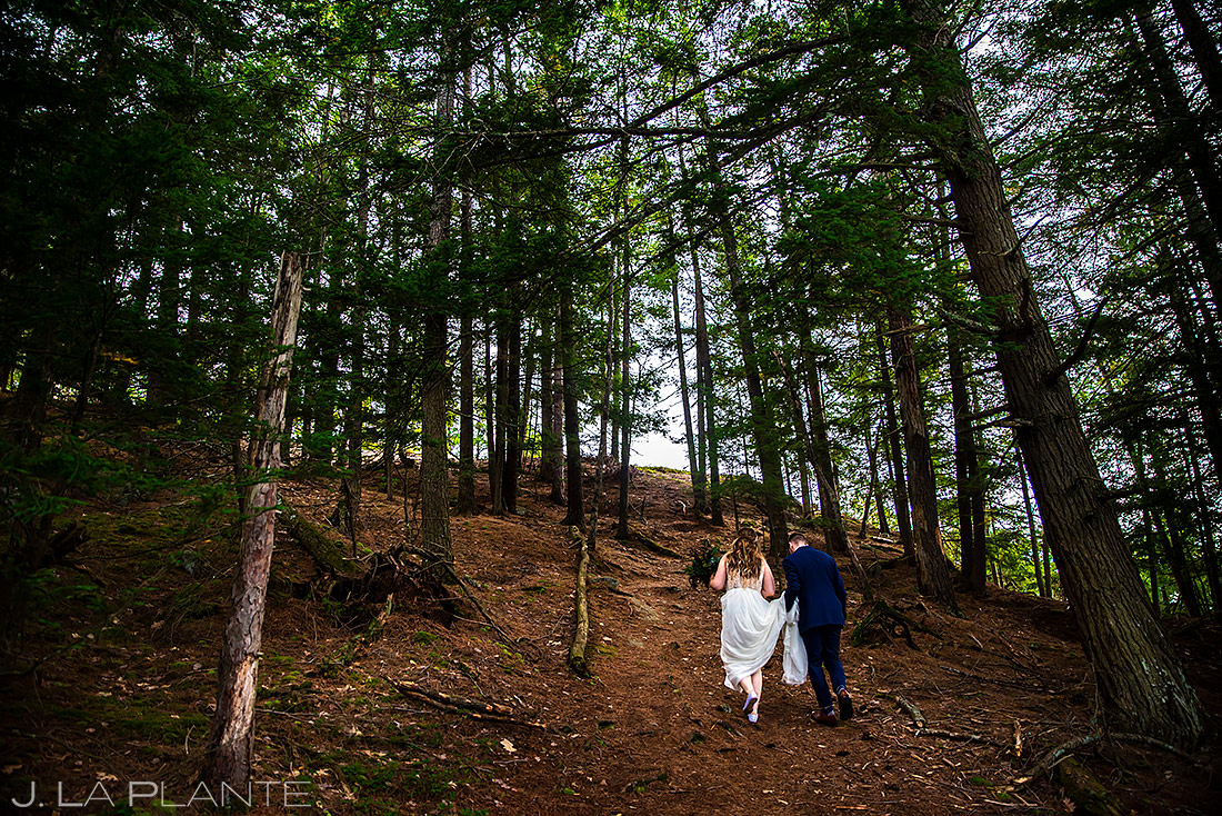 Bride and Groom Hiking | New York Destination Wedding | Destination Wedding Photographers | J. La Plante Photo