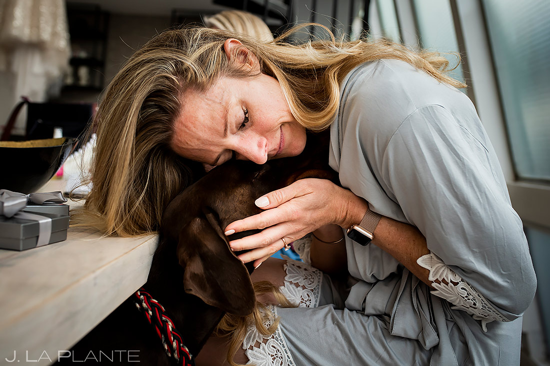 Bride with dog | Downtown Denver Wedding | Denver Wedding Photographer | J. La Plante Photo