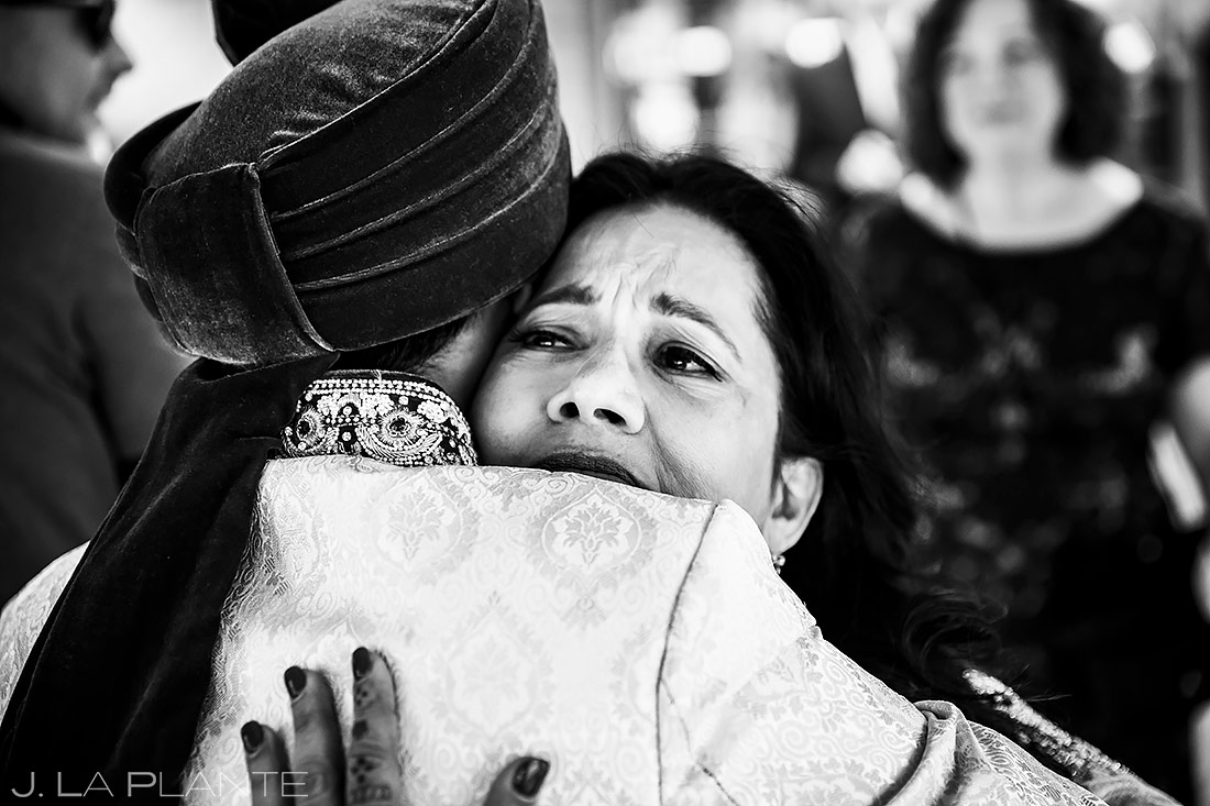 Groom hugging mother | Inverness Hotel Wedding | Denver Indian Wedding Photographer | J. La Plante Photo