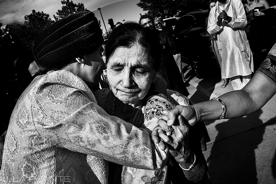 Groom hugging grandmother | Inverness Hotel Wedding | Denver Indian Wedding Photographer | J. La Plante Photo