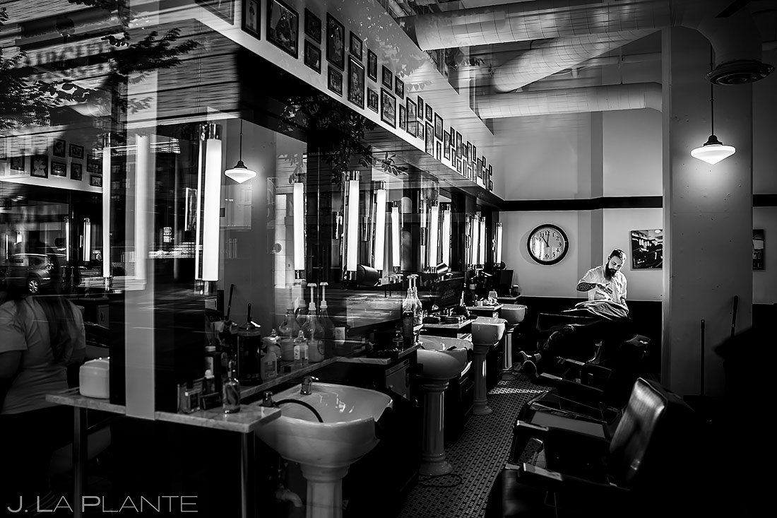 Groom at barber shop | Downtown Denver Wedding | Denver Wedding Photographer | J. La Plante Photo