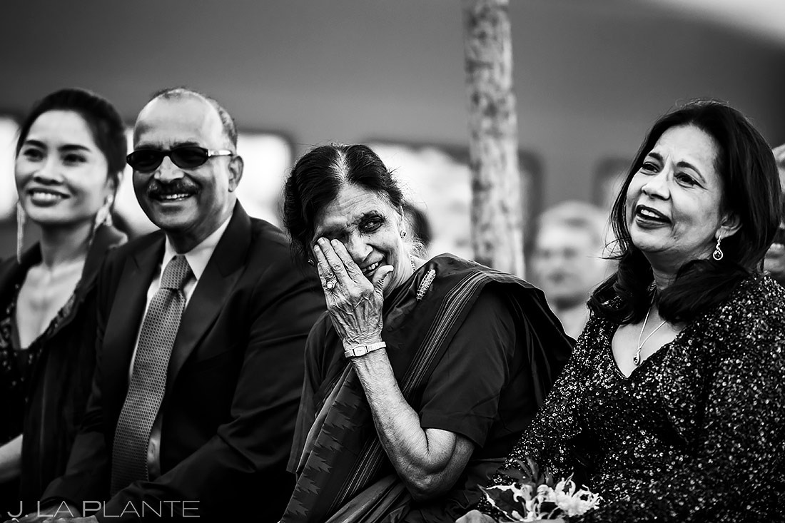 Grandma crying during wedding ceremony | Spruce Mountain Ranch Wedding | Denver Indian Wedding Photographer | J. La Plante Photo