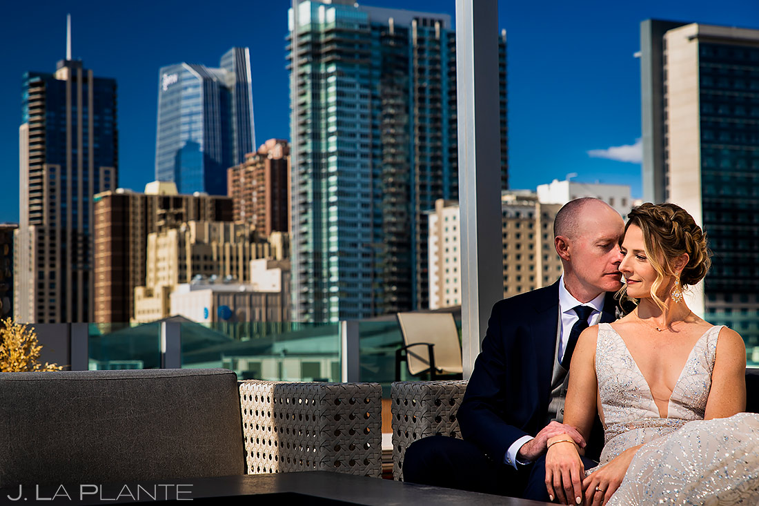 Bride and groom with skyline | Downtown Denver Wedding | Denver Wedding Photographer | J. La Plante Photo