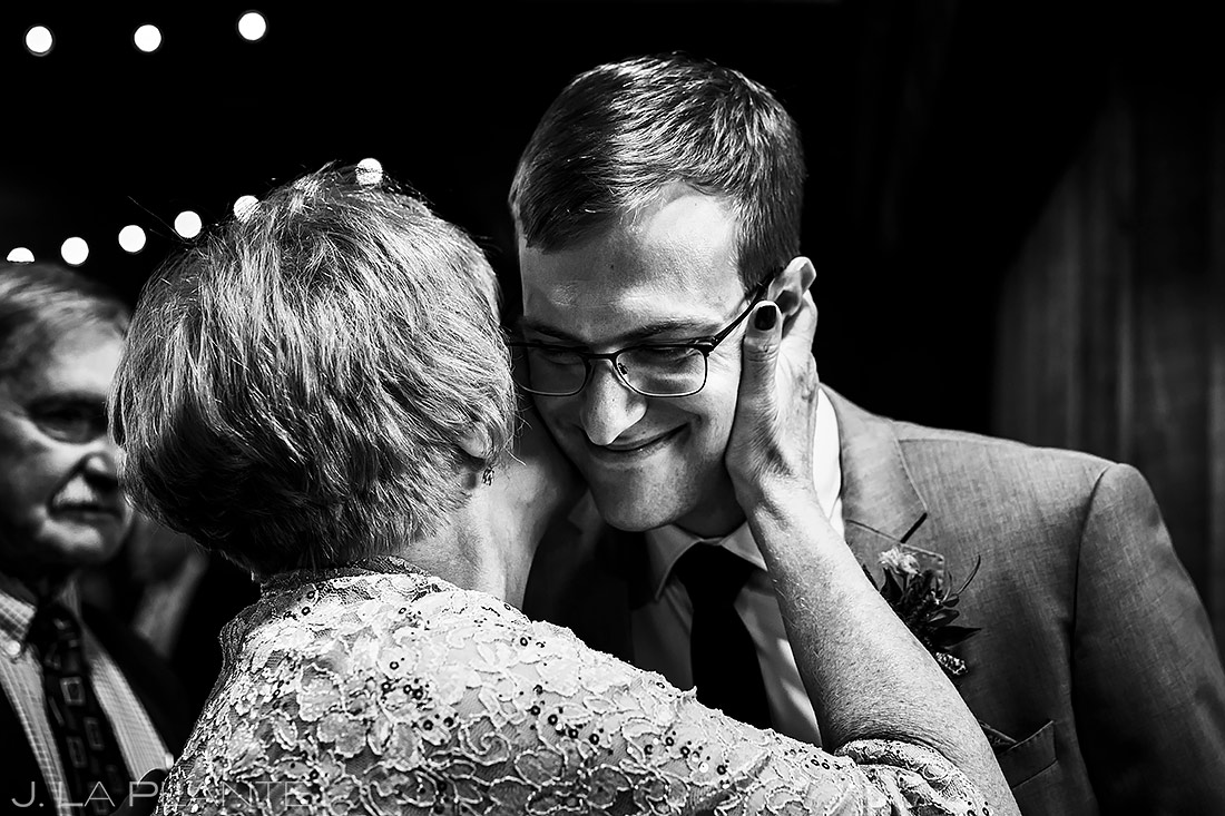 Groom hugging grandmother | Spruce Mountain Ranch Wedding | Denver Indian Wedding Photographer | J. La Plante Photo