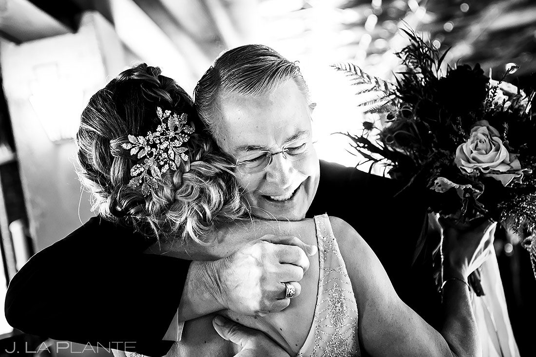 Bride hugging father | Ironworks Wedding | Denver Wedding Photographer | J. La Plante Photo