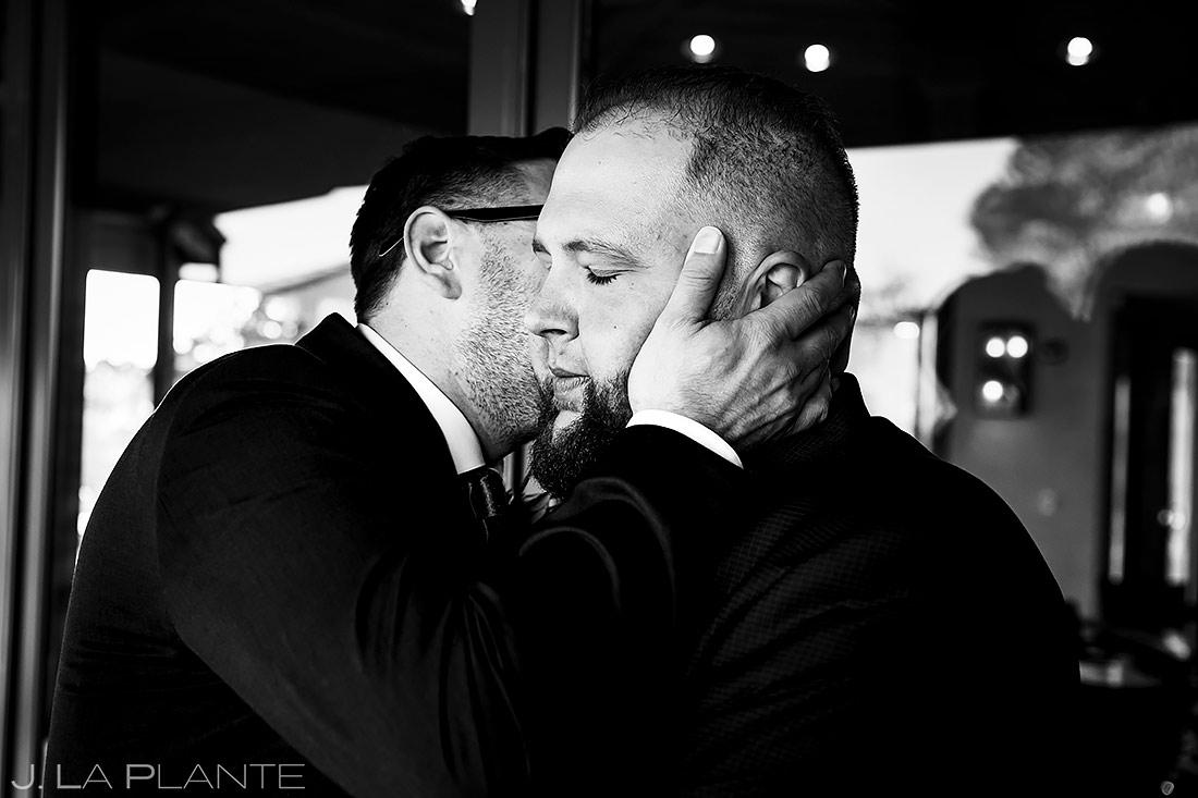 Best Man Kissing Groom | Sanctuary Golf Course Wedding | Denver Wedding Photographer | J. La Plante Photo