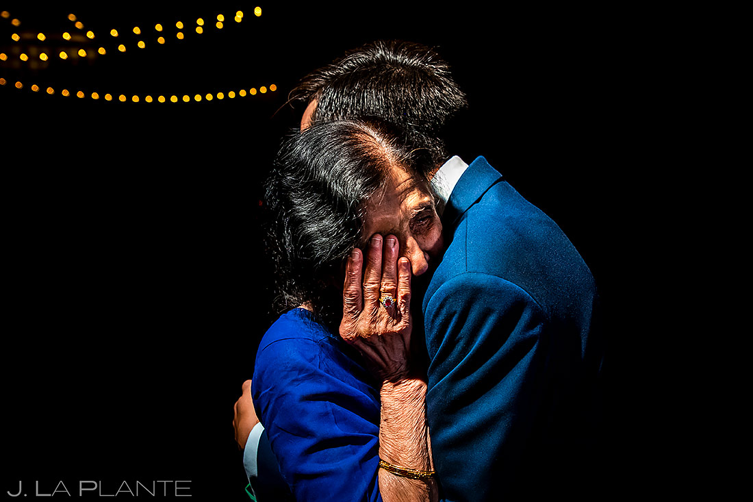 Groom hugging grandmother | Spruce Mountain Ranch Wedding | Denver Same Sex Wedding Photographer | J. La Plante Photo