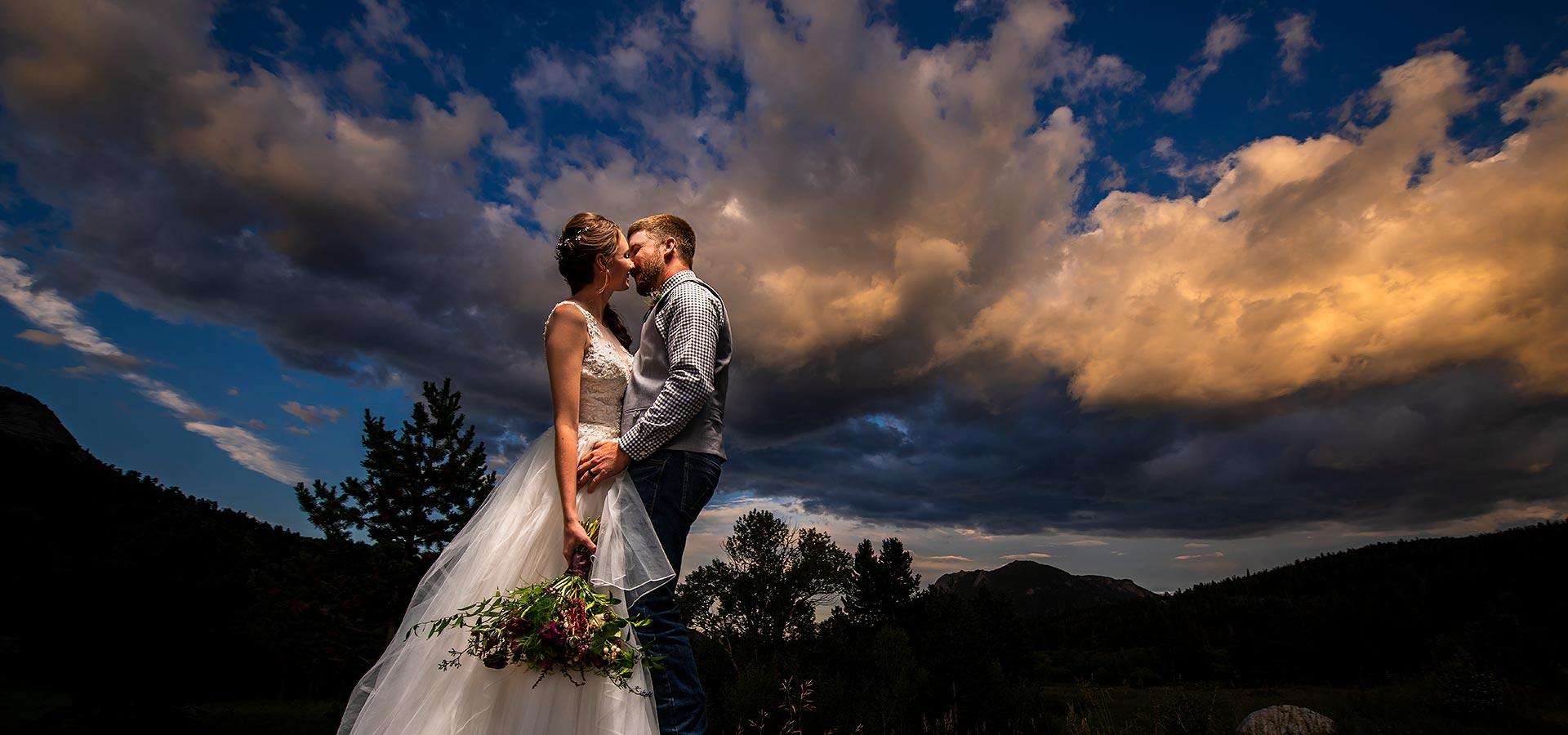 Bride and Groom Sunset Portrait   TenMile Station Wedding   Estes Park Wedding Photographer   J. La Plante Photo