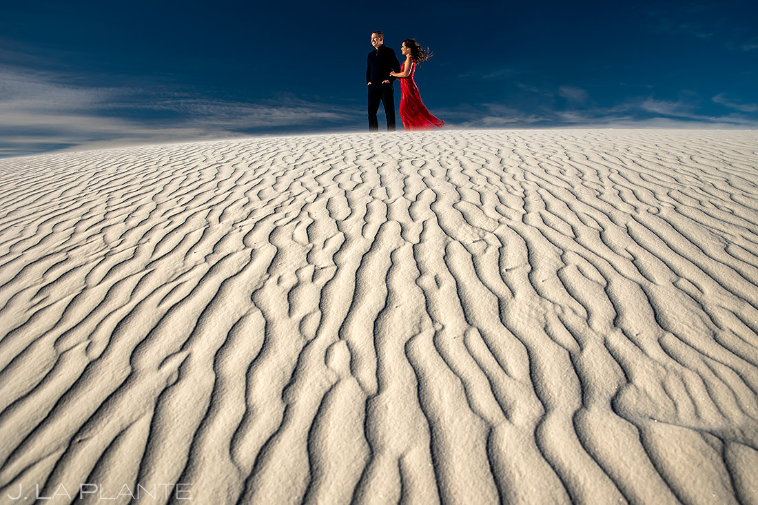 Bride and Groom at Sand Dunes | White Sands Engagement | Destination Wedding Photographer | J. La Plante Photo