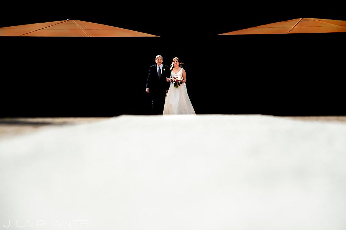Bride Walking Down Aisle | TenMile Station Wedding | Breckenridge Wedding Photographer | J. La Plante Photo