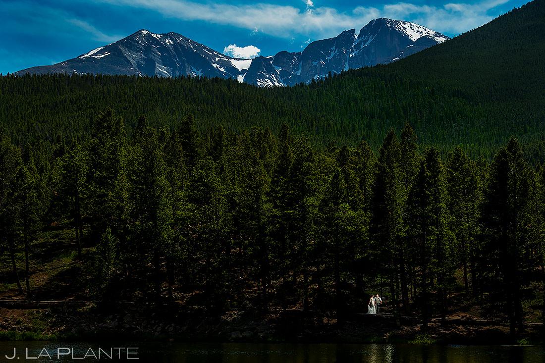 Bride and Groom on Lake | Lily Lake Wedding | Estes Park Wedding Photographer | J. La Plante Photo