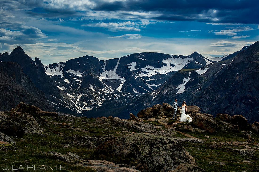 Bride and Groom in Rocky Mountain National Park | Black Canyon Inn Wedding Wedding | Estes Park Wedding Photographer | J. La Plante Photo