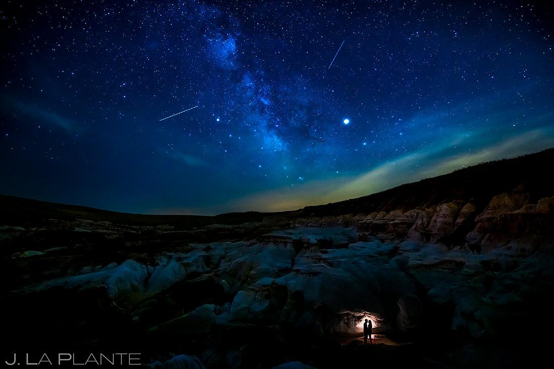 Engagement Portrait Under the Stars | Colorado Paint Mines Engagement | Colorado Wedding Photographer | J. La Plante Photo
