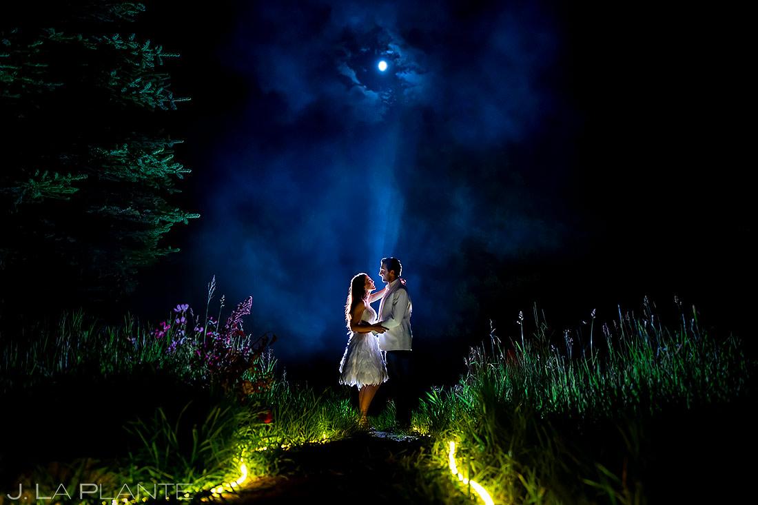 Bride and Groom Nighttime Photo   Pine Creek Cookhouse Wedding   Aspen Wedding Photographer   J. La Plante Photo