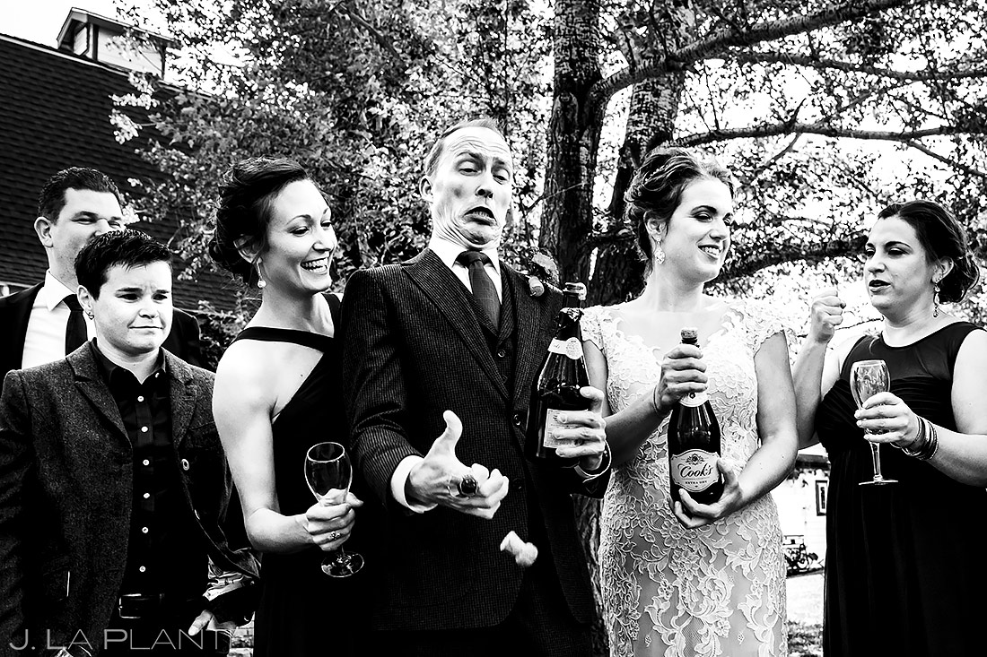 Wedding Party Popping Champagne | Lionsgate Wedding | Boulder Wedding Photographer | J. La Plante Photo