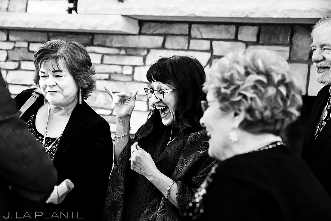 Wedding Guests Hanging Out | Lodge at Cathedral Pines Wedding | Colorado Springs Wedding Photographer | J. La Plante Photo