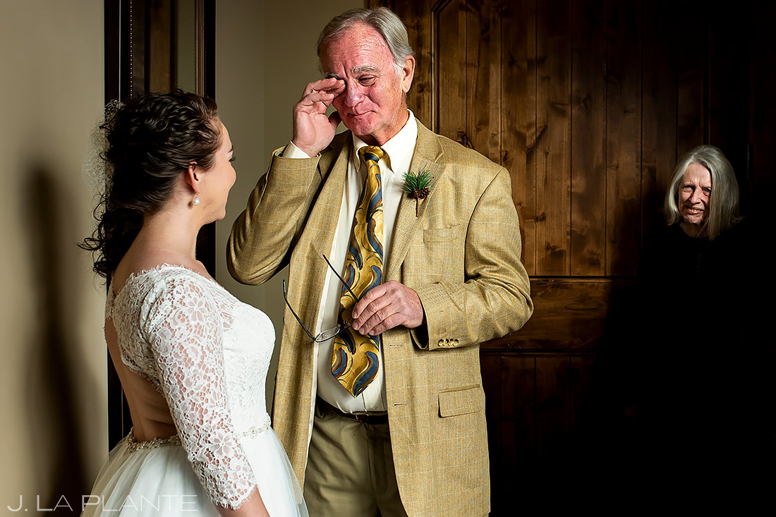 Bride's First Look with Father   Lodge at Cathedral Pines Wedding   Colorado Springs Wedding Photographer   J. La Plante Photo