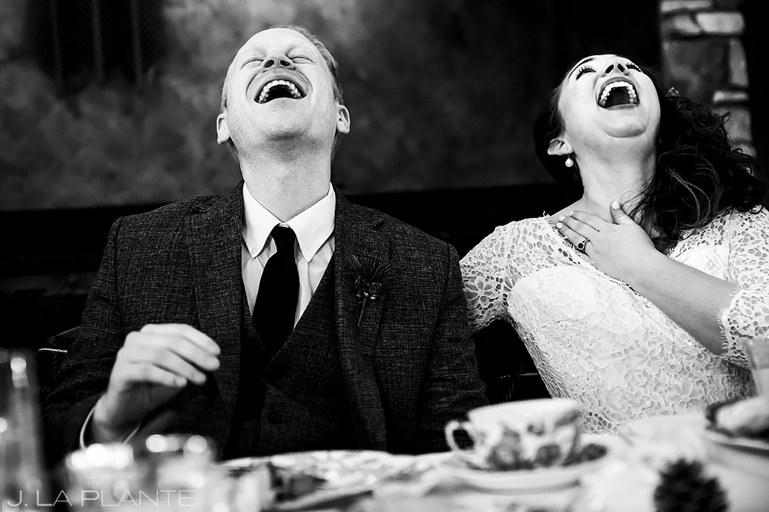 Bride and Groom Wedding Toasts | Lodge at Cathedral Pines Wedding | Colorado Springs Wedding Photographer | J. La Plante Photo
