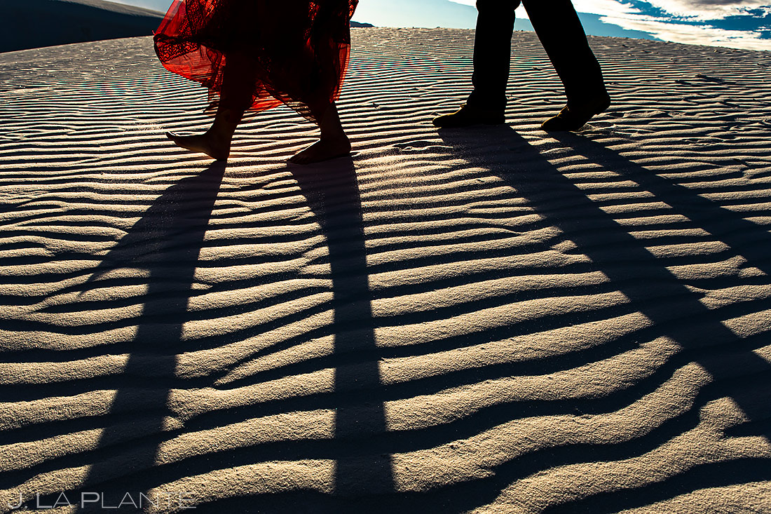 Bride and Groom Hiking Sand Dunes | White Sands Engagement | Destination Wedding Photographer | J. La Plante Photo