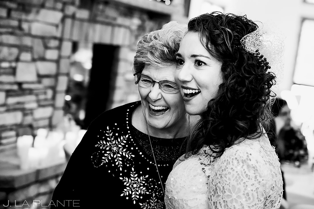 Bride Laughing with Grandmother | Lodge at Cathedral Pines Wedding | Colorado Springs Wedding Photographer | J. La Plante Photo
