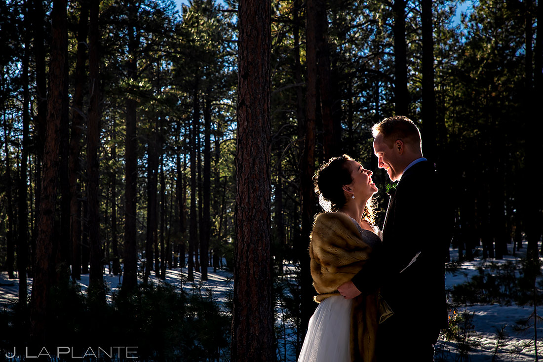 Bride and Groom in the Woods | Lodge at Cathedral Pines Wedding | Colorado Springs Wedding Photographer | J. La Plante Photo