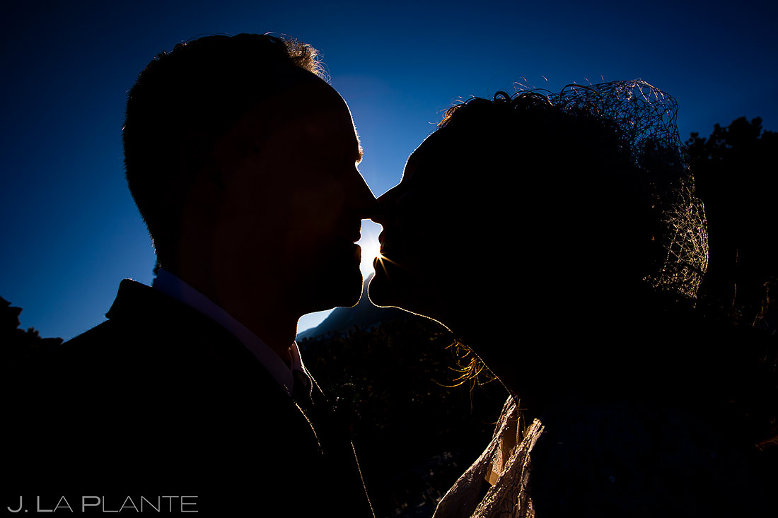 Bride and Groom Silhouettes | Lodge at Cathedral Pines Wedding | Colorado Springs Wedding Photographer | J. La Plante Photo
