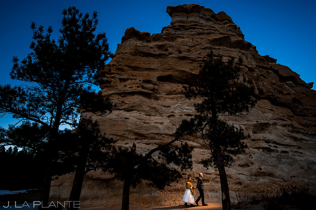 Bride and Groom at Monument Rock | Lodge at Cathedral Pines Wedding | Colorado Springs Wedding Photographer | J. La Plante Photo