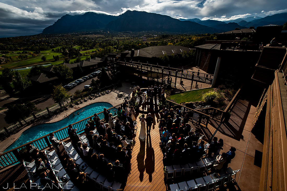 Outdoor Mountain Wedding Ceremony | Cheyenne Mountain Resort Wedding | Colorado Springs Wedding Photographer | J. La Plante Photo