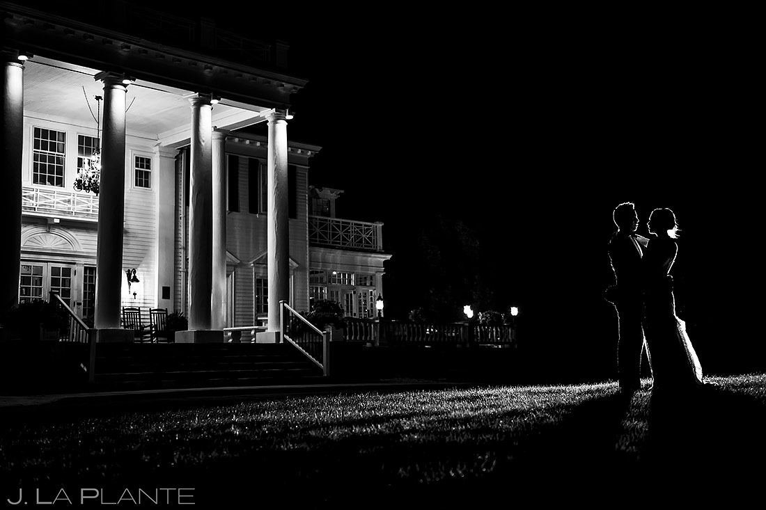 Bride and Groom Nighttime Photo | The Manor House Wedding | Denver Wedding Photographer | J. La Plante Photo