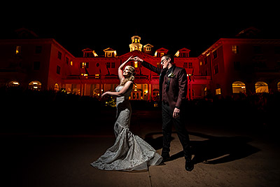 Bride and Groom dancing at night | Stanley Hotel Wedding | Best Estes Park wedding photographers | J. La Plante Photo
