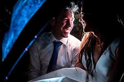 Bride and Groom in pedicab   St Vrain Wedding   Best Boulder Wedding Photographers   J. La Plante Photo