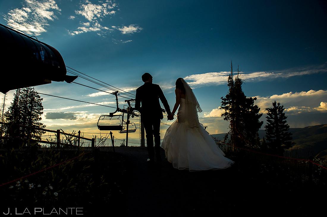 Bride and Groom Silhouettes   Beaver Creek Wedding Deck Wedding   Beaver Creek Wedding Photographer   J. La Plante Photo
