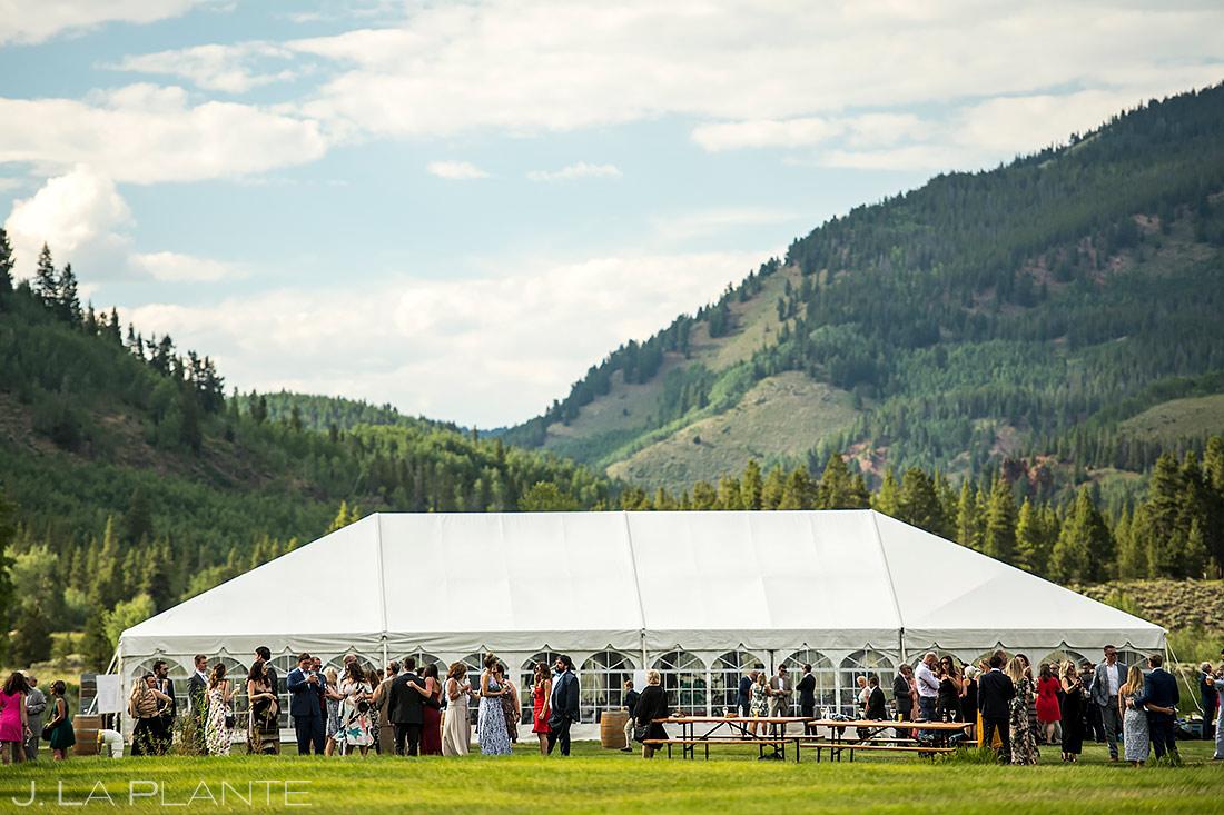 Mountain Wedding Cocktail Hour | Camp Hale Wedding | Vail Wedding Photographer | J. La Plante Photo