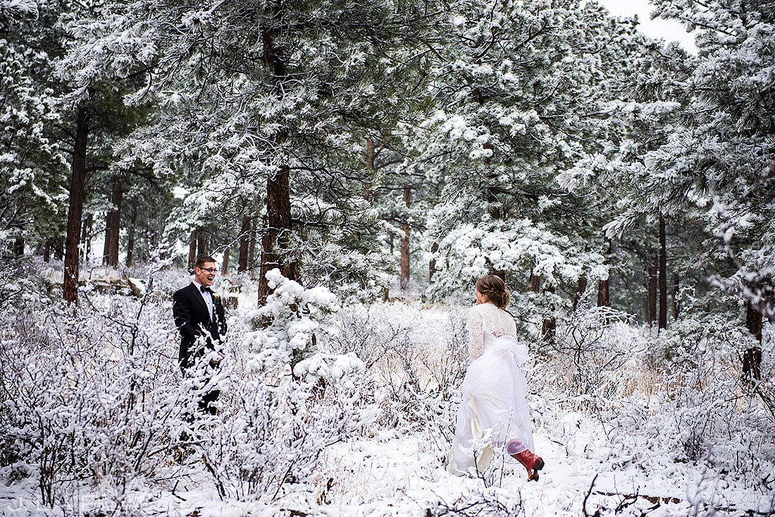 Bride and Groom First Look | Chief Hosa Lodge Wedding | Denver Wedding Photographer | J. La Plante Photo