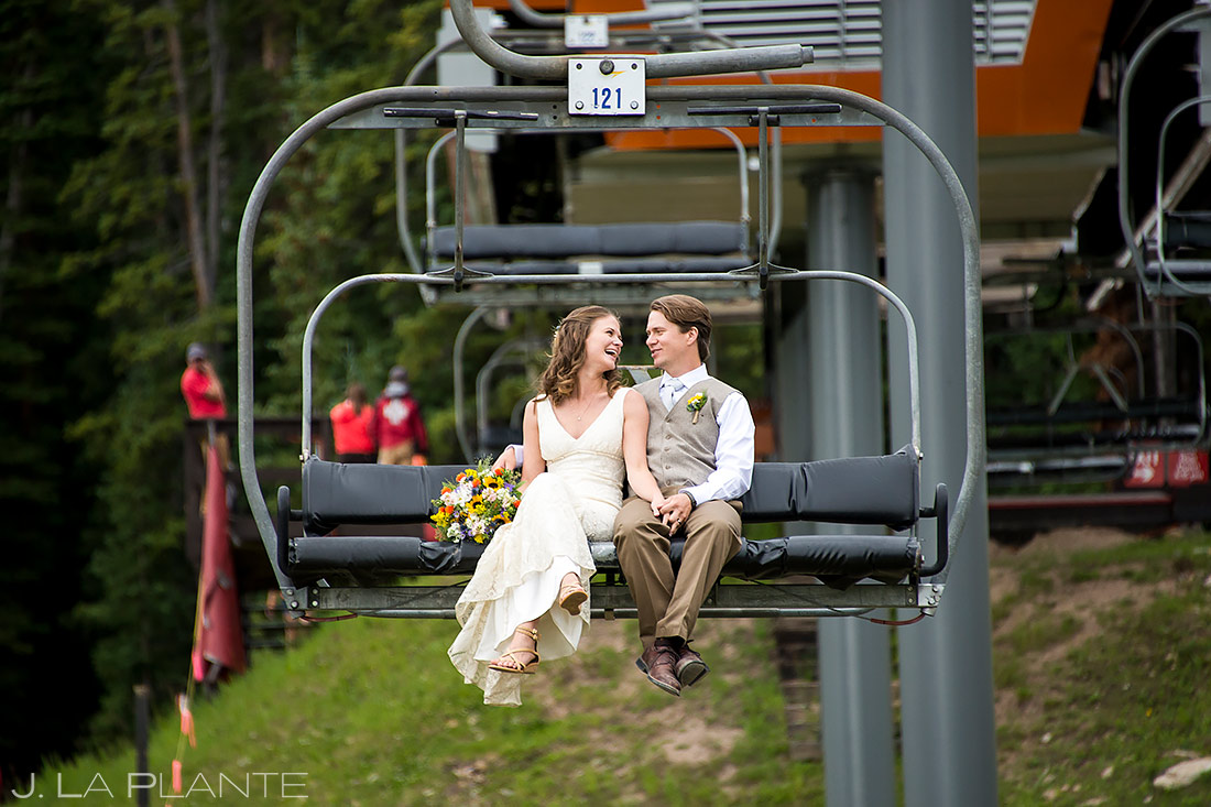 Bride and Groom on Chairlift | Copper Mountain Wedding | Colorado Wedding Photographer | J. La Plante Photo