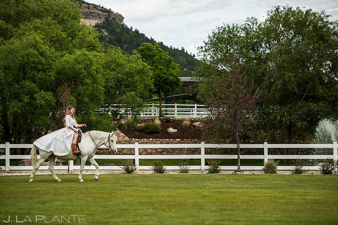Bride Riding Into Ceremony on a Horse | Crooked Willow Farms Wedding | Colorado Wedding Photographer | J. La Plante Photo