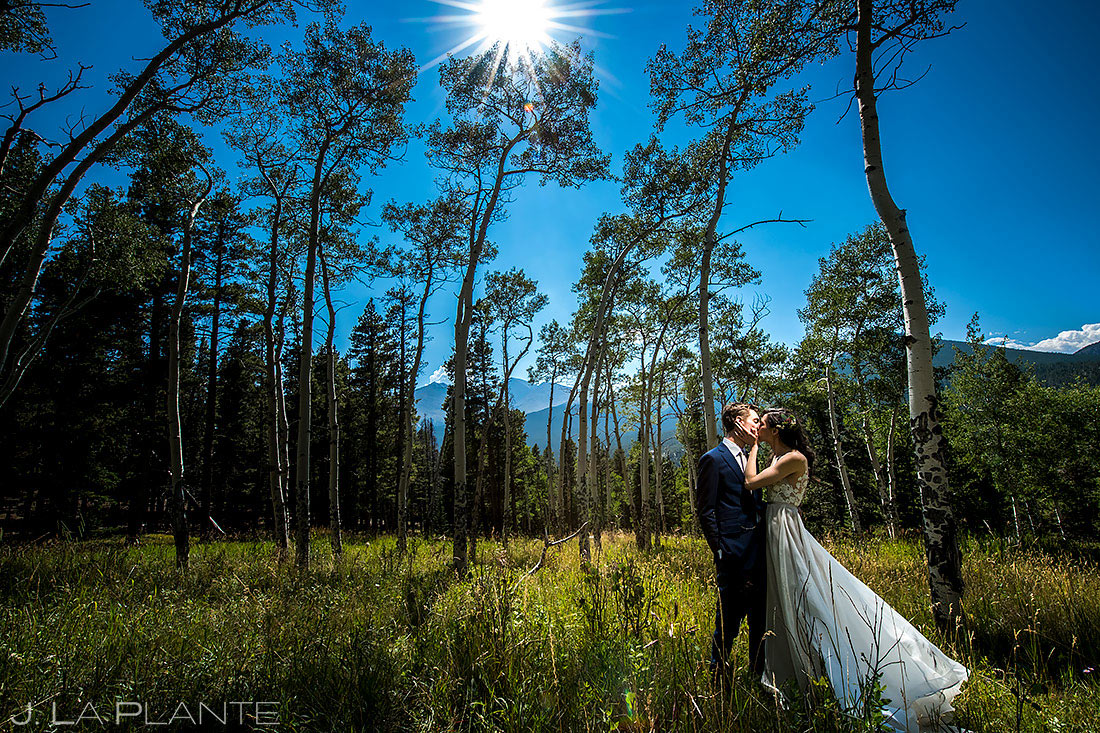 Bride and Groom in the Aspen Trees | Dao House Wedding | Estes Park Wedding Photographer | J. La Plante Photo