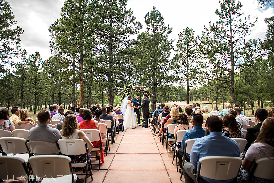 Rustic Wedding Ceremony | Lodge at Cathedral Pines Wedding | Colorado Springs Wedding Photographer | J. La Plante Photo