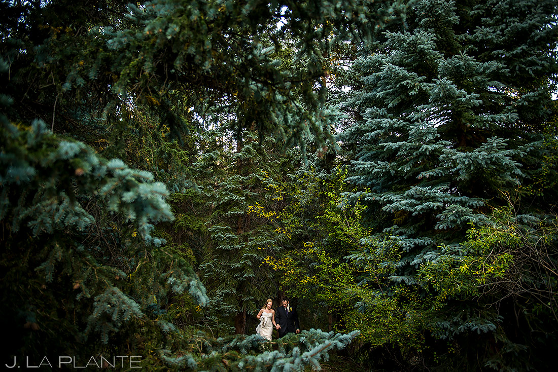 Bride and Groom Hiking Through Woods | Mountain View Ranch Wedding | Colorado Wedding Photographer | J. La Plante Photo