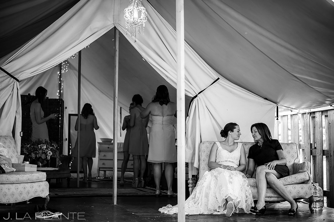 Bride Getting Ready with Mother | River Bend Wedding | Boulder Wedding Photographer | J. La Plante Photo