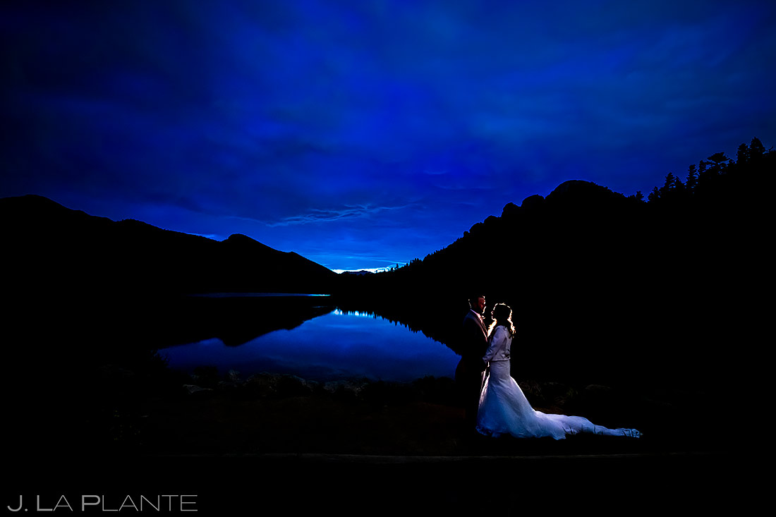 Bride and Groom Blue Hour Photo   Lily Lake Wedding   Estes Park Wedding Photographer   J. La Plante Photo